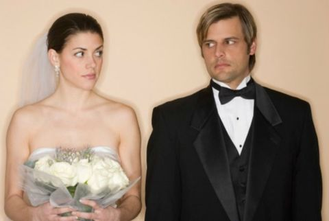 Upset Couple on Wedding Day