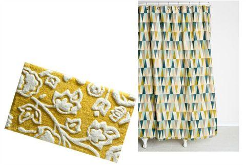 shower curtain and bath rug