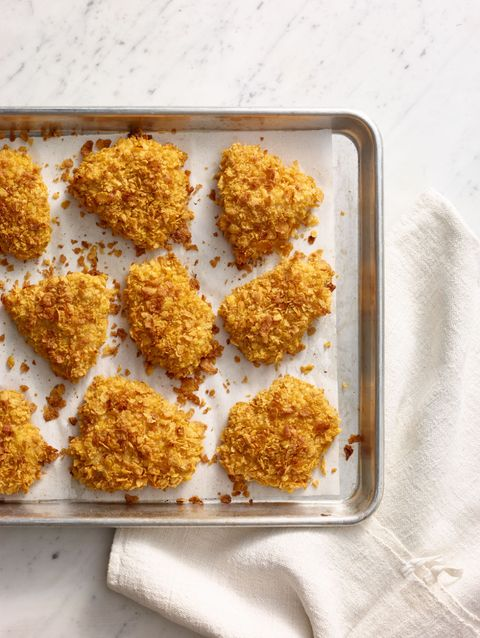 """<p>Make this meal up to 1 week ahead! Coat the chicken and freeze without baking. Cook from frozen according to the recipe instructions, adding 10 minutes to the total time.</p> <p><strong>Recipe:</strong> <a href=""""crispy-baked-chicken-recipe-wdy0315"""" target=""""_blank""""><strong>Crispy Baked Chicken</strong></a></p>"""