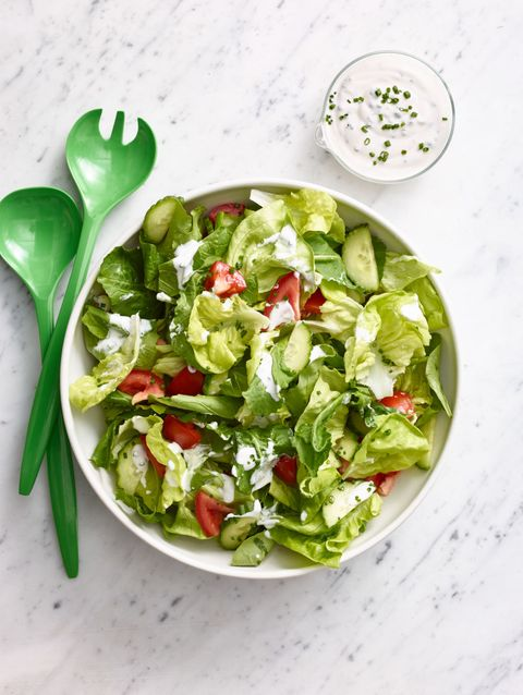 """<p>You can make this dressing up to 3 days ahead!  Refrigerate the dressing without the chives. A day ahead, prep the lettuce and cucumbers and refrigerate separately. Just before serving, cut the tomatoes and stir in the chives. </p> <p><strong>Recipe:</strong> <a href=""""salad-creamy-ranch-dressing-wdy0315"""" target=""""_blank""""><strong>Salad with Creamy Ranch Dressing</strong></a></p>"""