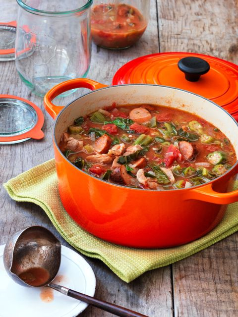 """<p>Feed your group with this hearty soup!</p> <p><strong>Recipe:</strong> <a href=""""chicken-sausage-gumbo-recipe-wdy0315"""" target=""""_blank""""><strong>Chicken and Sausage Gumbo</strong></a></p>"""