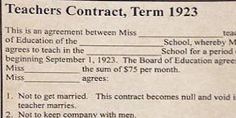 The rules for this 1920s teachers contract for women are totally insane platinumwayz