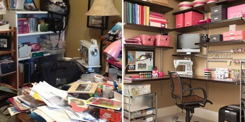 """<p>Pam's scrapbooking supplies were multiplying in the corner of her son's room—which she'd envisioned as her home office—so she had no space to craft, let alone pay bills. Lorie helped her identify things that were really <a href=""""http://www.womansday.com/home/organizing/getting-organized"""" target=""""_self"""">""""C"""" items in """"A"""" places</a>—like a black bag holding supplies to take to craft parties that she actually only attends about every other month.</p> <p><em>Want a chance to win prizes from ClutterDiet.com and Office Depot? Go to </em><a href=""""http://www.facebook.com/womansdaymagazine/app_154835491342054"""" target=""""_blank""""><em>our Facebook page</em></a><em> to vote for the closet makeover photos that inspire you most. And see the whole story from our </em><a href=""""http://www.womansday.com/home/organizing/desk-organization"""" target=""""_self""""><em>May issue</em></a><em>. </em></p>"""