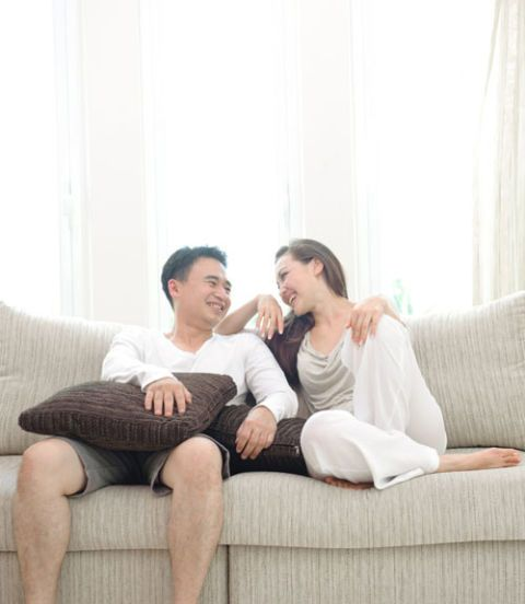 "Giving your partner positive reinforcement sounds like a no-brainer, but couples often forget to do it. ""Relationship expert Gottman's research found that in everyday life the happy couples have 20 positive moments — such as a shared look, compliment, or affectionate touch — to every negative moment,"" says Wilk. Tell him something positive three times a day, and be specific. Instead of saying, ""You're a good dad,"" tell him why. ""You're a good dad because you helped our daughter with that puzzle and it made me feel safe and secure."""