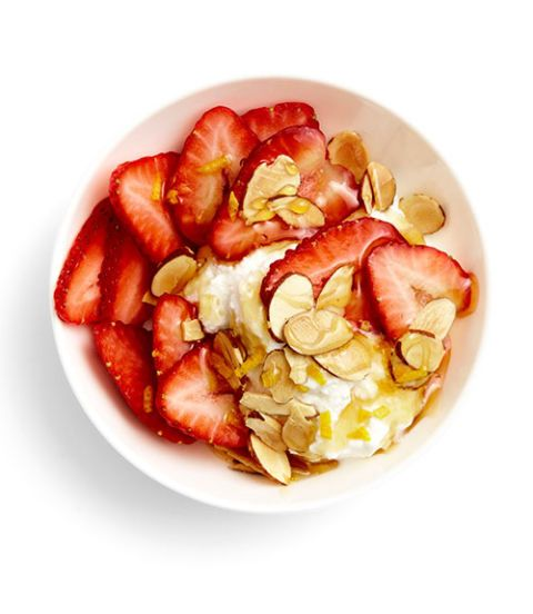 <p><strong>Ricotta bowl</strong></p> <p>Top ¼ cup fresh whole-milk ricotta with ½ cup sliced strawberries + 1 Tbsp toasted sliced almonds + ½ tsp grated lemon zest + 1 tsp honey.</p> <p><strong>Chia Pudding </strong></p> <p>Combine ¼ cup chia seeds + 1 cup coconut milk and refrigerate overnight.  Place ½ cup diced apricots in a small saucepan with 1 Tbsp water + ½ tsp vanilla extract + a pinch of cinnamon.  Stew over medium heat for 15 minutes or until apricots are soft. Spoon compote over chia pudding and top with 1 Tbsp unsweetened toasted coconut flakes.</p> <p><strong>Salmon Crisps</strong></p> <p>Spread 1 Tbsp cream cheese over 2 rye crackers (like Finn Crisp or Wasa).  Top each with 2 pieces smoked salmon + a sprinkle of minced chives, fresh grated lemon zest and cracked black pepper over top.</p>