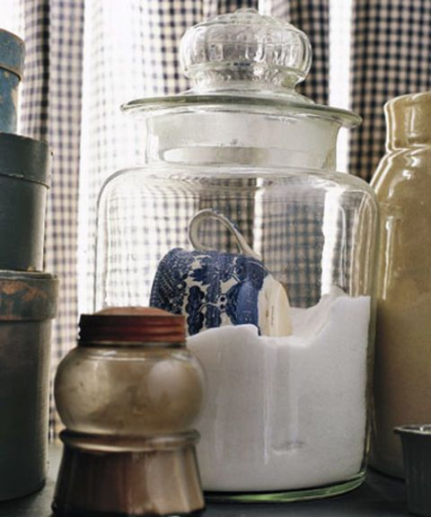 Put an end to kitchen-counter confusion: Use chalkboard paint to create labels on glass canisters. You'll always know whether you're scooping salt or sugar, and you can erase and change the wording whenever you like. <br /><em>—Jen Jafarzadeh L'Italien, the Haystack Needle </em>