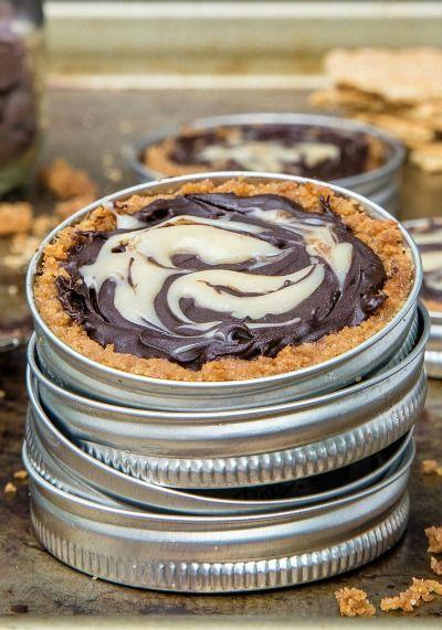 chocolate caramel mason jar lid tarts thanksgiving dessert
