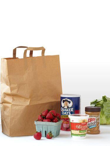 grocery bag of food