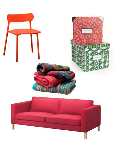 Pink Sofa, Red Kitchen Chair, Colorful Storage Boxes, Colorful Blankets