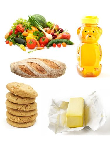 vegetables, honey, cookies, butter, bread