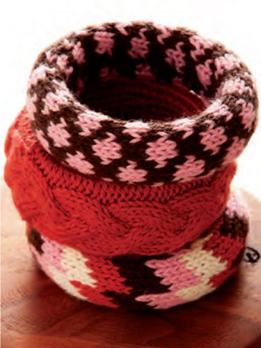 "<p>Whether worn individually or stacked together, these bracelets are a great use of scrap yarn. Check out the DIY tip on slide TK to learn how to design your own.</p> <p><em>Project excerpted from Stashbuster Knits: Tips, Tricks, and 21 Beautiful Projects for Using Your Favorite Leftover Yarn.</em></p> <p><strong>SKILL LEVEL</strong><br />Advanced Beginner<br /><br /><strong>SIZE</strong><br />Each bangle will fi t an adult woman's wrist<br /><br /><strong>FINISHED MEASUREMENTS</strong><br />The Aztec Bangle and the Dots Bangle each measure 1"" [3cm] wide; the Cable Bangle measures 2 3/4"" [7cm] wide<br /><br /><strong>MATERIALS</strong><br />Fine/Sportweight yarn<br />– 9 yd/[8.5m] of each of 4 colors for the Aztec Bangle<br />– 17 yd/[16m] of each of 2 colors for the Dots Bangle<br />– 30 yd/[27.5m] for the Cable Bangle</p> <p>Size 3 [3.25mm] knitting needles, or size needed to obtain gauge</p> <p>1 cable needle</p> <p>3 purchased bangle bracelets, two 1 1/4"" [3cm] wide and<br />one 2 3/4 "" [7cm] wide</p> <p>Blunt-end yarn needle</p> <p><em>The sample projects use Louet North America's Gems Fine/Sportweight (2-fi ne/sportweight; 100% superwash merino wool; each approximately 3 1/2 oz/[100g] and 225 yd/[205.5m]): #47 Terra Cotta (A), #53 Caribou (B), #51 Pink Panther (C), and #30 Cream (D)</em></p> <p><strong>GAUGE</strong><br />31 stitches and 32 rows = 4""/[10cm] in stranded stockinette stitch.<br /><em>To save time, take time to check gauge.</em></p> <p><strong>NOTE</strong><br />For the colorwork in the charts, use the stranded technique (pages 133–134).</p> <p><em><br /></em></p> <p><em><br /></em></p> <p> </p> <p> </p>"