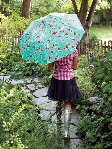 """<p><em>Project excerpted from One-Yard Wonders: Cottons, Knits, Voiles, Corduroy, Fleeve, Flannel, Home Dec, Oilcloth, Wool, and Beyond.</em></p><p>Make a """"perfect storm"""" with your favorite coated fabric and an old umbrella! As long as the frame is in great shape, you can give that worn, torn old umbrella a new life with this easy project. You'll never let a little rip keep you indoors again!</p><p>Materials <br />*1 yard of 54/55"""" oilcloth or other laminated fabric <br />*1 spool of coordinating thread <br />*Umbrella, 36"""" in diameter or smaller (make sure the ferrule piece at the top can be unscrewed and removed easily) <br />*Posterboard or other large-format paper or interfacing for making a pattern <br />*3"""" circle template <br />*Beeswax (optional)</p><p><strong><em>Finished dimension</em>s</strong> — depending on umbrella&#x3B; no wider than 36"""" wide when opened <br /><em><strong>Seam allowance</strong></em> — ¼"""" unless otherwise specified</p>"""