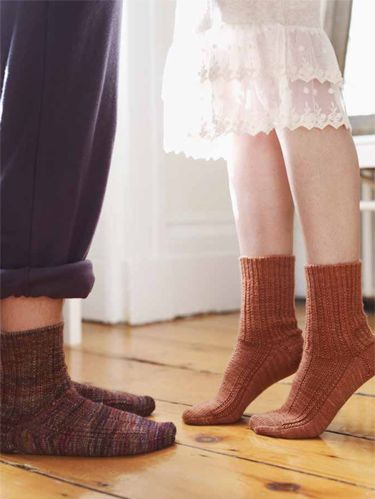 "<p><em>Project excerpted from The Knitter's Book of Socks: The Yarn Lover's Ultimate Guide to Creating Socks That Fit Well, Feel Great, and Last a Lifetime. <br /></em><em></em><br />Stepping-stones guide us from one place to the next. My hope is that these socks will start you on your own sock-knitting journey. If you're new to socks, or if you're feeling rusty and in need of a refresher course, begin here. Throughout the pattern you'll find lots of helpful hand-holding that will familiarize you with the fundamentals of sock construction. <br /><br />This sock also serves as a gentle reminder that, while most so-called sock yarns are extremely fine, you can knit a lovely pair of socks out of thicker yarns. For everyday comfort and wear, the maximum recommended thickness would be worsted-weight yarn, which is what I used in this pattern.<br /><br />Sock A (right) is knit using a springy and rounded three-ply Merino from Blue Moon Fiber Arts; and sock B (left) is knit using plush, though equally springy, four-ply Merino from Malabrigo. The pattern is simple enough to incorporate almost any color theme your heart desires, whether it be a solid or semisolid or, in the case of Malabrigo, a flickering multicolor.<br /><br /><strong>Size</strong><br />Women's M (Women's L/Men's M)<br />Finished Measurements<br />Foot circumference: 71⁄2 (73⁄4)"" (19 [19.5]cm)<br />unstretched, to fit foot circumference of about 83⁄4<br />(9.5)"" (22 [23.5]cm)<br />Yarn<br />300 (340) yd (274 [311]m) of worsted-weight yarn:<br />Sock A (right), in women's M: 1 skein Blue Moon<br />Fiber Arts Socks That Rock Heavyweight, 100%<br />superwash Merino, 7 oz (198g), 350 yd (320m),<br />color Oregon Red Clover Honey<br />Sock B (left) in men's M: 2 skeins Malabrigo Rios,<br />100% superwash Merino, 31⁄2 oz (100g), 210 yd<br />(192m), color 862 Piedras<br /><br /><strong>Needles</strong><br />Set of 4 U.S. size 2 (2.75mm) double-pointed<br />needles, or size to obtain gauge</p> <p><strong>Notions</strong><br />Tapestry needle</p> <p><strong>Gauge</strong><br />28 stitches and 40 rows = 4"" (10cm) in stockinette<br />stitch (knit in the round)<br /><br /><strong>Notes</strong><br />- The heel flap is knit using two strands of yarn, working one stitch from one strand and the next stitch from the other strand, to create an extra-thick, plush, and durable heel. If you want to create a multicolored effect, you can use a contrasting color for the second strand. Otherwise, the easiest solution is to wind your yarn into a center-pull ball (using a ball winder, nostepinne, or your hands) and use the other end for the second strand.</p> <p>- The Leg Pattern and Instep Pattern can be worked using either the charts provided or the written directions in the Stitch Guide.<br />- Slipped stitches are slipped as if to purl, with the yarn held to the wrong side of the work.<br /><br /><strong>Stitch Guide</strong><br /><strong></strong></p> <p><strong>LEG PATTERN</strong><br />(Also see the Leg Chart on page 60.)<br /><strong>Round 1:</strong> *K1, p1; repeat from * to the end of the round.<br /><strong>Round 2:</strong> *K3, p3; repeat from * to the end of the round.</p> <p><strong>INSTEP PATTERN</strong><br />(Also see the Instep Chart on page 60.)<br /><strong>Round 1:</strong> (K1, p1) 3 times, (k5, p1) 3 times, (k1, p1) 2<br />times.<br /><strong>Round 2:</strong> K1, p3, k21, p3.</p> <p><strong>CUFF</strong><br />Cast on 54 (60) stitches. Divide stitches evenly onto 3<br />needles. Join to work in the round, taking care not to<br />twist the stitches.<br /><strong>Round 1:</strong> *K1, p1; repeat from * to the end of the round.<br />Repeat this round until cuff measures 11⁄2"" (4cm).</p>"