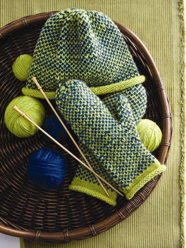 """<p><em>Project excerpted from Knit Local: Celebrating America's Homegrown Yarns.</em></p> <p><strong>SIZE</strong><br />Instructions are written for one size.<br /><br /><strong>FINISHED MEASUREMENTS</strong><br /><strong>HAT</strong><br />HEAD CIRCUMFERENCE<br />18""""/45.5cm<br />DEPTH 8""""/20.5cm)<br /><br /><strong>MITTENS</strong><br />HAND CIRCUMFERENCE<br />71⁄4""""/18.5cm<br />LENGTH OF CUFF<br />approx 1""""/2.5cm<br /><br /><strong>MATERIAL S</strong><br />- 1 31⁄2oz/100g hank (each approx 250yd/229m) of Swans Island Yarns Worsted (wool) each in green (MC) and indigo (CC)<br />- One pair each sizes 7 and 8 (4.5 and 5mm) needles or size to obtain gauge<br />- Stitch holders<br />- Stitch markers<br /><br /><strong>GAUGE</strong><br />22 sts and 23 rows to 4""""/10cm over St st and Fair Isle pats using larger needles. Take time to check gauge.<br /><br />Jil Eaton learned to knit when she was 4 years old and grew up in Maine where hand-knits are cherished and classic maritime patterns have been passed down through generations. The stranded colorwork pattern creates a fabric that is warm and durable, perfect for chilly New England winters.<br /><br /><strong>NOTE</strong><br />When working Fair Isle patterns, hold MC and CC in separate hands (one Continental and one English) to knit patterns more quickly.<br /><br /><strong>STITCH GLOSSARY</strong><br />Kf&b To inc 1 st, and maintain Fair Isle pat, knit into the front of next st using the next color, then in the back of the same st using the following color.<br /><br /><strong>FAIR ISLE PATTERN I</strong><br />(over an odd number of sts) Row 1 (RS) K1 MC, *k1 CC, k1 MC; rep from * to end.<br />Row 2 P1 CC, *p1 MC, p1 CC;<br />rep from * to end.<br />Rep rows 1 and 2 for Fair Isle pat I.</p> <p><strong>FAIR ISLE PATTERN II</strong><br />(over an even number of sts)<br />Row 1 (RS) *K1 MC, k1 CC; rep<br />from * to end.<br />Row 2 *P1 MC, p1 CC;<br />rep from * to end.<br />Rep rows 1 and 2 for Fair Isle pat II.ating America"""