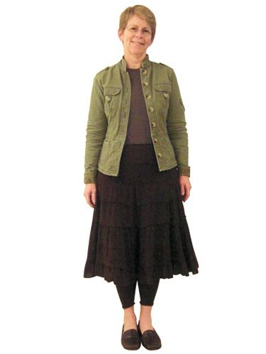 <p> Frustrated by the lack of options in petite sizes, working mother Sue falls back on safe separates that do nothing for her shape. Boxy blazers and long skirts overwhelm her 5-foot frame, and the blocks of solid color (olive jacket, dark brown skirt, dark leggings) segment  her body, making her appear even shorter. Sue's stark neutrals are low-maintenance, but also low on style. </p>  <p>Flip through this slideshow to see how the Woman's Day style department helped transform Sue's look, to give her petite frame loads of height. </p>