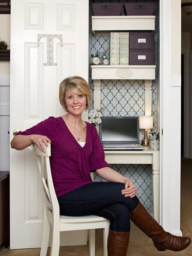 """<p>Tonya Diehl, 31, wanted an outlet to share her decorating ideas, so she started a blog. But finding a spot to work was a challenge. Space was tight in her house, especially with two little boys, ages 4 and 15 months. The solution? Turn a closet into a home office. """"The coat closet in our living room was the first space to come to mind,"""" says Tonya, a part-time registered nurse in Murphysboro, IL. """"All the bedroom closets were jam-packed with necessities, but that one held more junk than coats. So I cleared it out and created an area all my own—no boys or husband allowed."""" And she did it all for under $100!</p> <p>Prepping the closet was simple: Coats were moved to the bedrooms and leftover junk was tossed. Then she looked around for inspiration.<strong> </strong>""""I was in a craft store,"""" says Tonya, """"when I stumbled upon some beautiful scrapbook paper patterned with plum, sage green, blue and cream."""" A lightbulb went off—she'd found her color scheme.</p>"""