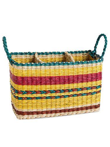 """<p>Organize your utensils in style<br /> Rio Stripe Seagrass Caddy, $21.95; <a href=""""http://www.tag2u.com/rio-striped-seagrass-caddy/203355/product"""" target=""""_blank"""">Tag2u.com</a></p>"""