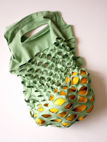 "<p>A couple snips and stitches turn an unwanted t-shirt into a reusable grocery bag.</p> <p><strong><a href=""http://www.deliacreates.com/greeneasy-knit-produce-bag/"" target=""_blank""><em>Get the tutorial at Delia Creates »</em></a></strong></p>"