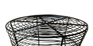 """<p>Pull up a shapely outdoor stand (some even work as seats!). The best part of the decor? You can hose off your table if it's looking dirty, then let it dry in the sun.</p> <p>Use this <a href=""""http://www.overstock.com"""" target=""""_blank"""">Metal Wire Stool</a> solo, or pair two to create a coffee table. $63.</p>"""