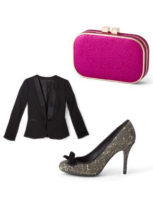 """<p>It's your time to shine! Mix and match these fun party finds to get the perfect head-to-toe look at a great price.</p> <p><strong>3 Ways to Dazzle<br /></strong></p> <p>     · A tuxedo jacket adds elegance to dresses and separates, and can winterize lightweight fabrics. Your best bet: one with a nipped waist, elongating V-neck and curved hem. <em>Tuxedo Jacket, $34.80; <a href=""""http://www.forever21.com/Product/Category.aspx?br=f21&category=outerwear_blazers"""" target=""""_blank"""">Forever21.com</a></em></p> <p>     · Head-to-toe black can look somber, so kick it up with a rich accent color like plum or cranberry. <em>Madig Handbag available through MIMIXX, $39; 516-809-6445 to order</em></p> <p>     · Shimmer is in—from metallic hues to jewel accents. The simplest (and safest) way to try no-holds-barred bling: on shoes or a bag. They'll feel fresh well into 2013. <em>Chinese Laundry Fall for Glitter Pump, $69; <a href=""""http://www.francescas.com/product/chinese+laundry+fall+for+glitter+heel.do?sortby=ourPicks"""" target=""""_blank"""">Francescas.com</a></em></p>"""