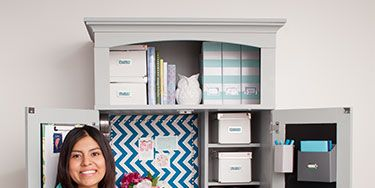 """<p>Salt Lake City native Claudia Hanson loves to turn design inspiration into practical ideas for her home. So when she and her husband, Aaron, decided to carvea home office out of a corner of their living room, no boring desk would do. Instead, the stay-at-home mom and blogger (<a href=""""http://www.deliciousspaces.blogspot.com/"""" target=""""_blank"""">DeliciousSpaces.Blogspot.com</a>) searched a local classifieds site and found a dowdy computer desk armoire for $40. Then, she spent less than $50 on paint and inexpensive extras to make it pretty—both open and closed.</p>"""