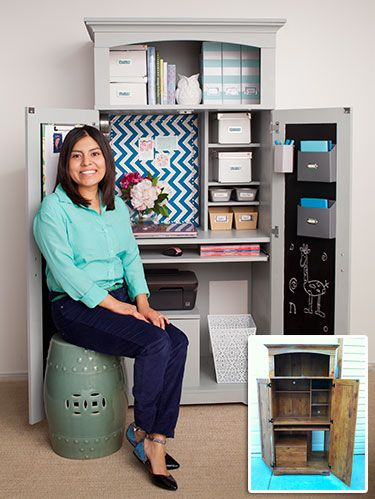 """<p>Salt Lake City native Claudia Hanson loves to turn design inspiration into practical ideas for her home. So when she and her husband, Aaron, decided to carvea home office out of a corner of their living room, no boring desk would do. Instead, the stay-at-home mom and blogger (<a href=""""http://www.deliciousspaces.blogspot.com/"""" target=""""_blank"""">DeliciousSpaces.Blogspot.com</a>) searched a local classifieds site and found a dowdy computer desk armoire for . Then, she spent less than  on paint and inexpensive extras to make it pretty—both open and closed.</p>"""