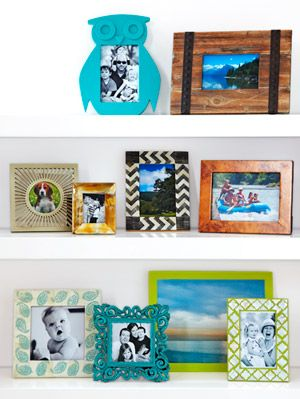 <p>Never print out your photos? Here are 10 reasons why you should. From whimsical patterns to colorful combinations, these frames will make every memory that more special. For an interesting grouping of the frames, orient some frames vertically, others horizontally, then add a fun-shaped frame, like home editor Ayn-Monique Klahre does. Have photos too small to show them off? Add a mat for an instantly polished look. Find them at art-supply stores for as little as $2—more affordable than custom frame shops.<em><br /></em></p>