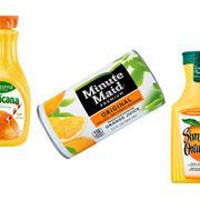 """<p>Whether you enjoy orange juice with your breakfast or with a mid-day snack, OJ is one of the most beloved beverages. In fact, Americans drink around 3.2 gallons of orange juice per person, per year! When purchasing the citrus-flavored treat, buy juices labeled 100% orange juice to ensure you're getting only OJ. Some other terms you'll find on the packaging:<br /><br /><strong>PASTEURIZED</strong><br />Almost all supermarket orange juice is pasteurized (heated to a high temperature), increasing its shelf life and ensuring that the juice doesn't separate.</p> <p><strong>FROZEN CONCENTRATED ORANGE JUICE (FCOJ)</strong><br />This is orange juice with the water removed. When prepared according to package directions, FCOJ has about the same amount of vitamin C as not-from-concentrate juice.</p> <p><strong>FROM CONCENTRATE</strong><br />Water has been removed from this juice for storage, then added back in before bottling. In terms of nutrition and price, buying a carton of OJ """"from concentrate"""" is about the same as mixing it yourself.</p> <p><strong>FORTIFIED ORANGE JUICE</strong><br />These varieties have added nutrients. Choose ones that have the same Percent Daily Value of calcium (30% DV) and vitamin D (25% DV) as a glass of milk.</p> <p>Click through to find out which juices made our top picks. </p> <p> </p>"""