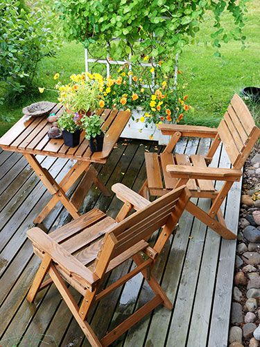 <p>What's a beautiful home without a well-maintained outdoor area? Thankfully, some of the prettiest upgrades are also budget-friendly. From the placement of plant containers to cheery paint colors, read on and click through to find pointers that will perk up your patio in no time.</p> <p>Paint your furniture</p> <p>Wind, rain and snow can give outdoor pieces a beating—revive them with a new finish. Sand your furniture to remove rust or flaked bits of paint (if needed), wash with a mildew-killing cleaner and prime before applying paint. And don't let the pieces dry where leaves or other debris will ruin your hard work: A breezy, covered area like the garage is best.</p> <p>These exterior spray-ons quickly add color—read the label to see which is best for your furniture material.</p> <p>Krylon Rust Protector in Gloss Light Blue</p> <p>Valspar Outdoor in Gloss Red Queen</p> <p>Rust-Oleum Stops Rust in Sunburst Yellow</p>