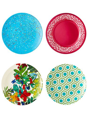 """<p class=""""p1"""">Your patio's no place for the good china, but paper isn't your only option when you dine al fresco. These melamine marvels elevate any backyard meal. Even better, <span class=""""s1"""">they stand up to decades of use with a little bit of care:</span></p> <p class=""""p2"""">Wash by hand or on the top dishwasher rack.</p> <p class=""""p2"""">Don't use steak knives or scratchy scrub brushes.</p> <p class=""""p2"""">Rinse off foods that stain (tomato sauce, balsamic vinegar) after eating.</p> <p class=""""p2"""">Keep clicking to see our favorite colorful picks.</p>"""