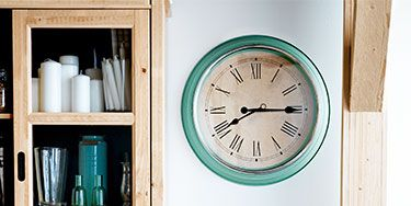 <p>It's about time telling time got a stylish upgrade. Versatile, colorful clocks (like the one shown) double as functional and stylish decor for any room. Although clocks run constantly, they don't use a lot of energy. Expect to change the batteries about twice a year. Keep clicking for affordable pieces you'll love. </p> <p> </p>