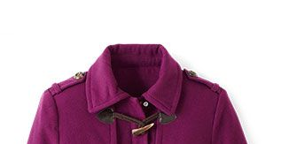 <p>In a bold plum hue, this faux-wool jacket will cover your core without swallowing up a shorter frame.</p> <p><em>George Fashion Faux Toggle, $39.86; Walmart stores (Sizes S to 3X.)</em></p>