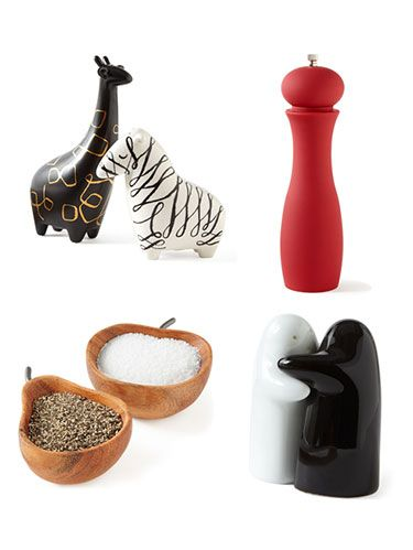 <p>Salt and pepper add some big-time flavor to your favorite foods, so why not store and sprinkle them in cute containers? From animal styles to fun prints, these meant-to-be displayed dispensers are the perfect touch to complement any kitchen table setting. Can't tell which is which? Salt goes in the shaker with fewer holes, a holdover from the days when it was a more precious commodity than pepper. Shake through the next slides to check out the pretty pairs. </p>