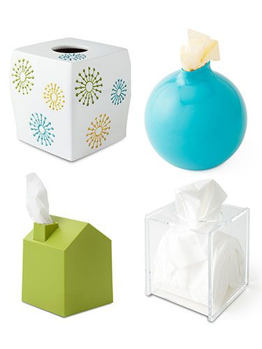 <p>Tissue boxes get a lot of use this time a year, so why not make them jazzy? Attractive and practical, these holders are the perfect touch for any desk or side table. Coming in a variety of shapes and colors, tissue box covers have never looked this good. When you're entertaining, leave out a tissue box (away from the food) so guest don't go running. Keep clicking to check out the cutest covers available.</p>