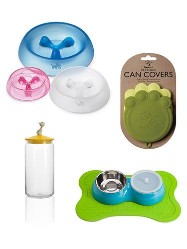 <p>If your dog or cat's food area is a mess of bowls and stray kibble, jazz it up with these pretty, functional accessories.</p> <div> </div>