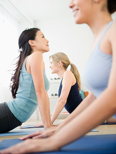 "<p class=""p1"">Yoga has been shown to lower anxiety levels <em>and</em> blood pressure, making it a truly <a href=""http://www.womansday.com/health-fitness/10-minute-workout"" target=""_self""><span class=""s1"">heart-friendly exercise</span></a>. Run through this feel-good routine four times in a row for a mind and body boost. If you're <a href=""http://www.womansday.com/health-fitness/workout-routines/yoga-for-beginners-1529"" target=""_self""><span class=""s1"">new to yoga</span></a>, it's a good idea to take a few classes to learn correct form. Go to <a href=""http://www.yogafinder.com/"" target=""_blank""><span class=""s2"">YogaFinder.com</span></a> to locate lessons in your area.</p>"