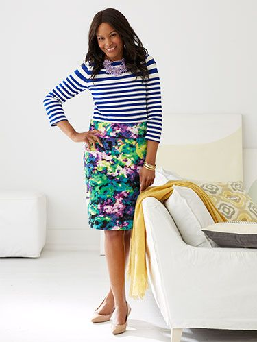 "<p>Bring the season's flowery fun into your wardrobe. From skirts and tops to shoes and jewelry, there's no end to the outfits you can whip up. Read on and click through to learn the best ways to wear the bold pattern.</p> <p>Pair with Stripes</p> <p><em>A solid top isn't the only match for a flowery bottom. Instead, use a crisp lined shirt to balance a skirt's soft print. The key: coordinating hues.</em></p> <p><em>Purple Flower Necklace, $40; </em><a href=""https://www.shopdesignspark.com/details.php?products_id=1378&categories_id=&sale="" target=""_blank""><em>ShopDesignSpark.com</em></a></p> <p> </p> <p><em>¾-Sleeve Heavyweight Jersey Engineered Stripe Sailor Tee, $39; </em><a href=""http://www.landsend.com/products/womens-34-sleeve-heavyweight-jersey-engineered-stripe-sailor-tee/id_260908?CM_MERCH=DTP_SEARCH_null&action=DTP_SEARCH_null&query=%BE-Sleeve%20Heavyweight%20Jersey%20Engineered%20Stripe%20Sailor%20Tee"" target=""_blank""><em>LandsEnd.com</em></a><em></em></p> <p><em>Garden Meadows Pencil Skirt, $54.95; </em><a href=""http://www.lanebryant.com/plus-size-dresses-skirts/skirts-view-all/4031c59/index.cat"" target=""_blank""><em>LaneBryant.com</em></a><em></em></p> <p><em>Comfort Plus by Predictions Karmen Plump, $24.99; </em><a href=""http://www.payless.com/store/product/detail.jsp?productId=70962"" target=""_blank""><em>Payless.com</em></a><em></em></p>"