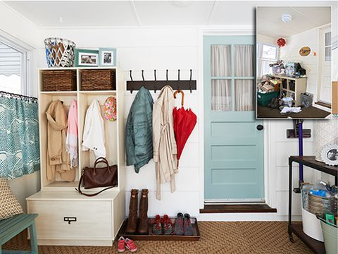 P What S The Secret To An Organized Entryway Smart Storage And Simple Solutions Annie Schlechter No Mess Mudroom