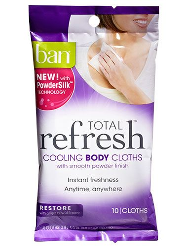"<p>These powder-scented wipes make you feel <em>so</em> much better after a long day in the car or plane.</p> <p><em>Ban Total Refresh Cooling Body Cloths in Restore, $6.97; </em><a href=""http://www.amazon.com/Total-Refresh-Cooling-Cloths-Restore/dp/B00HT5NAEM/ref=sr_1_fkmr0_1?ie=UTF8&qid=1400184367&sr=8-1-fkmr0&keywords=Ban+Total+Refresh+Cooling+Body+Cloths+in+Restore"" target=""_blank""><em>Amazon.com</em></a></p>"