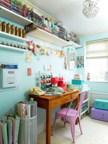 <p>Consider the following options for your real-life Pinterest board: Display mementos on a decorative corkboard, reserve a spot on the wall to tack up colorful swatches or mount hooks to hold fabric remnants. Corralling these creative tidbits makes the room feel less cluttered.</p> <p><strong>Embrace Color</strong></p> <p>For an upbeat decorating scheme that won't overwhelm, pick two complementary hues—such as the soothing turquoise and violet here—and use them for your wall color as well as accents like storage baskets and bins or even a painted chair.</p>