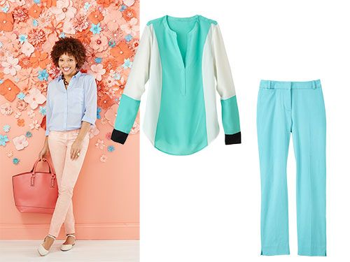"<p>Vibrant pastels are in this season. Mix separates together or use them to brighten your black, white and beige basics.</p> <p><em>Chiffon Colorblock Popover Top, $22.99; </em><a href=""http://www.kohls.com/search/womens-blue-shirts-blouses-tops.jsp?CN=4294720878+4294902428+4294719458+4294719805&search=chiffon%20colorblock%20popover%20top"" target=""_blank""><em>Kohls.com</em></a></p> <p><em>Tummy Control Crop Pants, $39.99; </em><a href=""http://www.chadwicks.com/item/47039/search/tummy-control-crop-pants-by-shape-benefits-misses"" target=""_blank""><em>Chadwicks.com</em></a><em></em></p> <p><em>Pastel Fern Necklace, $24; </em><a href=""http://www.zadwholesalejewelry.com/zadretail/Facet-Bead-Fern-Bib-Necklace.html"" target=""_blank""><em>ZadWholesaleJewelry.com</em></a><em></em></p> <p>On model:</p> <p> </p> <p><em>Lucite Tortoise Link Necklace, $68; </em><a href=""http://www.amazon.com/Yochi-Tortoise-Chunky-Lucite-Necklace/dp/B006PDL92Y/ref=sr_1_2?ie=UTF8&qid=1400680669&sr=8-2&keywords=Lucite+Tortoise+Link+Necklace"" target=""_blank""><em>Amazon.com</em></a><em></em></p> <p><em>Apt. 9 Mixed Fabric Shirt Blouse, $36; </em><a href=""http://www.kohls.com/product/prd-1693385/apt-9-mixed-media-blouse-womens.jsp"" target=""_blank""><em>Kohls.com</em></a><em></em></p> <p><em>Legging Jean, $69.95;</em><a href=""http://www.gap.com/browse/product.do?vid=2&pid=249265002"" target=""_blank""><em> Gap.com</em></a><em></em></p> <p><em>Martin Faux Leather Tote, $39.95; </em><a href=""http://www.justfab.com/index.cfm?action=home.product_public_lp&tab=bag&ha=2651929B66CC454ED00294DB835C6FCC&pid=0435331"" target=""_blank""><em>JustFab.com</em></a><em></em></p> <p><em>Noel Flats, $39.95; </em><a href=""http://www.justfab.com/index.cfm?action=home.product_public_lp&pid=620929&ha=9FB6424A8B70C3DFA0DCB027D2CE9EAD&layout=main&kw=Noel"" target=""_blank""><em>JustFab.com</em></a><em></em></p> <p><em>Tummy Control Crop Pants, $39.99; </em><a href=""http://www.chadwicks.com/item/47039/search/tummy-control-crop-pants-by-shape-benefits-misses"" target=""_blank""><em>Chadwicks.com</em></a><em></em></p> <p><em>Chiffon Colorblock Popover Top, $22.99; </em><a href=""http://www.kohls.com/search/womens-blue-shirts-blouses-tops.jsp?CN=4294720878+4294902428+4294719458+4294719805&search=chiffon%20colorblock%20popover%20top"" target=""_blank""><em>Kohls.com</em></a><em> </em></p> <p><strong>See also: </strong><a href=""http://www.womansday.com/style-beauty/fashion-style/floral-print"" target=""_self""><strong>The Prettiest Ways to Wear Floral Print</strong></a></p> <p> </p>"