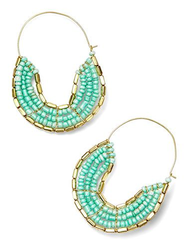 <p><span>You'll forget you're wearing these surprisingly light weight Gold Beaded Hoop Earrings ($20&#x3B; ZadRetail.com).</span></p>