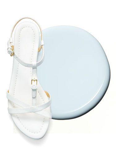 "<p>These strappy sandals along with this barely blue hue come together in perfect harmony.</p> <p><em>Liz Clairborne White Flat Sandal, $34.99; </em><a href=""http://www.jcpenney.com/shops/people-stylewatch/flat-sandals/liz-claiborne-nina-sandals/prod.jump?ppId=pp5003630398&searchTerm=liz+clairborne+sandal&catId=SearchResults&colorizedImg=DP0205201418243078C.tif"" target=""_blank""><em>JCPenney.com</em></a><em></em></p> <p><em>Essie Find Me an Oasis, $8.50; </em><a href=""http://www.amazon.com/Essie-Resort-Fling-Polish-Colors/dp/B00HVKJD7I/ref=sr_1_1?ie=UTF8&qid=1401466266&sr=8-1&keywords=essie+find+me+an+oasis"" target=""_blank""><em>Amazon.com</em></a><em></em></p> <p><strong>See also: </strong><a href=""http://www.womansday.com/style-beauty/beauty-tips-products/spring-nail-polish-colors"" target=""_self""><strong>Spring's Hottest Nail Polish Colors</strong></a><strong></strong></p>"