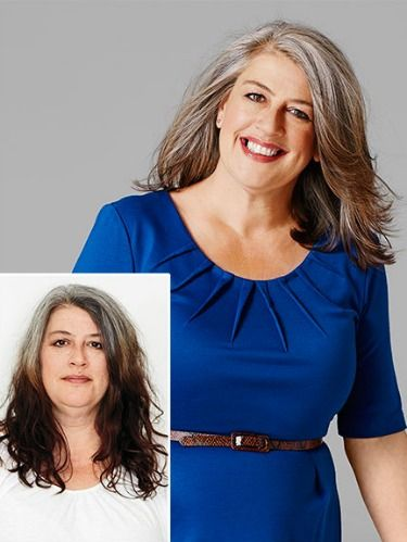 """<p>Go gray the right way.<strong> </strong>Bring up the length. Gray hair that's longer has less body. Keep your cut at the shoulder or above.<strong><br /> </strong><br /> Cut & color: When Jacqueline got tired of covering her gray roots, she decided to quit coloring cold turkey. """"Going gray is not a license to give up on your hair,"""" says colorist Kyle White of the Oscar Blandi Salon. To lessen the contrast between Jacqueline's roots and the rest of her hair, White added gray lowlights and white highlights. A new shoulder-length cut, with longer layers, also revived her wiry strands.</p> <p>Styling trick: The pigment in hair serves as a protective layer, so when hair grays it becomes more susceptible to damage. To ensure that nutrients and oils aren't stripped away as you wash, swap in a shampoo made for aging hair.</p> <p>WD pick: Pantene AgeDefy Shampoo ($8.99; at drugstores) protects hair and prevents grays from looking frayed.</p>"""