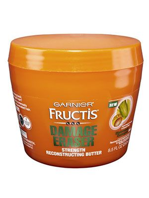 <p>Once a week, apply Garnier Fructis Damage Eraser Strength Reconstructing Butter ($5.99&#x3B; at drugstores), which has keratin proteins to strengthen hair.</p>