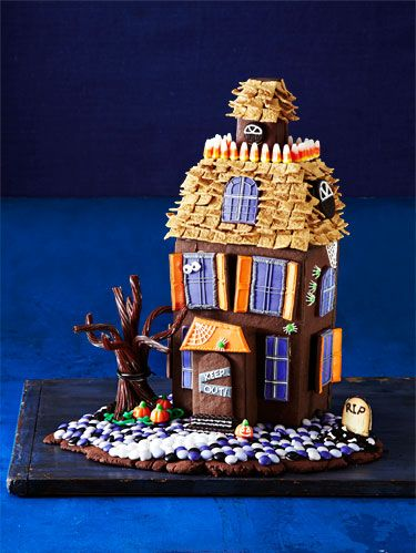 chocolate cookie walls and candy decorations make this haunted house frightfully delicious