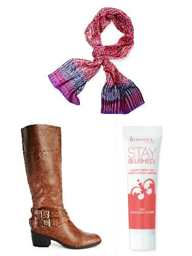 "<p>Dress up your everyday office look for the fall by adding in a Moroccan printed scarf and riding boots. A peach colored blush is perfect for any skin tone, giving a rosy-cheeked look.</p> <p><em>LifeStride Winner Riding Boot, $49.88; </em><a href=""http://www.amazon.com/LifeStride-Womens-Winner-Riding-Brown/dp/B00HWZJX4K/ref=sr_1_sc_3?ie=UTF8&qid=1412874166&sr=8-3-spell&keywords=lifestride+riding+bots"" target=""_blank""><em>Amazon.com</em></a></p> <p> </p> <p><em>Moroccan Tile Scarf, $38; </em><a href=""http://www.echodesign.com/shop/moroccan-tile-silk-scarf.html/"" target=""_blank""><em>EchoDesign.com</em></a><em></em></p> <p><em>Rimmel London Stay Blushed! In Peach Flush, $2.97; </em><a href=""http://www.walmart.com/ip/Rimmel-Stay-Blushed-Liquid-Cheek-Tint-003-Peach-Flush-0.47-fl-oz/35250463"" target=""_blank""><em>Walmart.com</em></a><em></em></p>"
