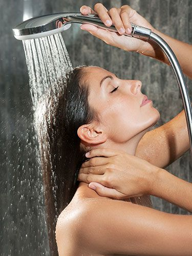 <p>At the end of your shower, turn the nozzle and rinse your hair out with cold water for 5 to 10 seconds. (This closes the cuticle, for more shine.) Hair should feel noticeably softer and look shinier once dry. </p>