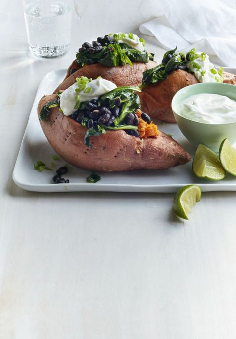 """<p>This 20 minute dinner is quick and healthy!</p> <p><strong>Recipe:</strong> <a href=""""sweet-potatoes-stuffed-black-beans-spinach-recipe-wdy0215"""" target=""""_blank""""><strong>Sweet Potatoes Stuffed with Black Beans and Spinach</strong></a></p>"""