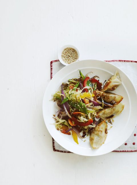 """<p>This family pleasing recipe is heart healthy and doesn't take a lot of effort or ingredients.</p> <p><strong>Recipe:</strong> <a href=""""potsticker-vegetable-stir-fry-recipe-wdy0215l"""" target=""""_blank""""><strong>Potsticker and Vegetable Stir-Fry</strong></a></p>"""